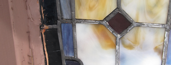 bowing stained glass